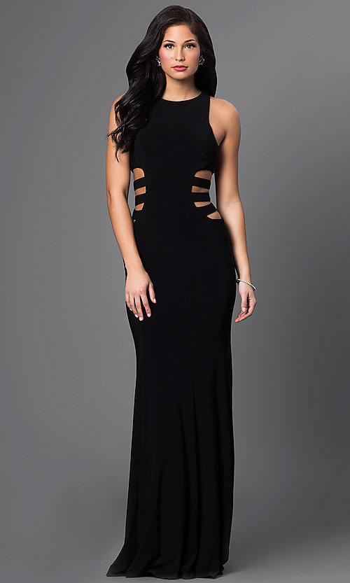 Image of Floor-Length Faviana Gown with Side Cut Outs Style: FA-7820 Front Image