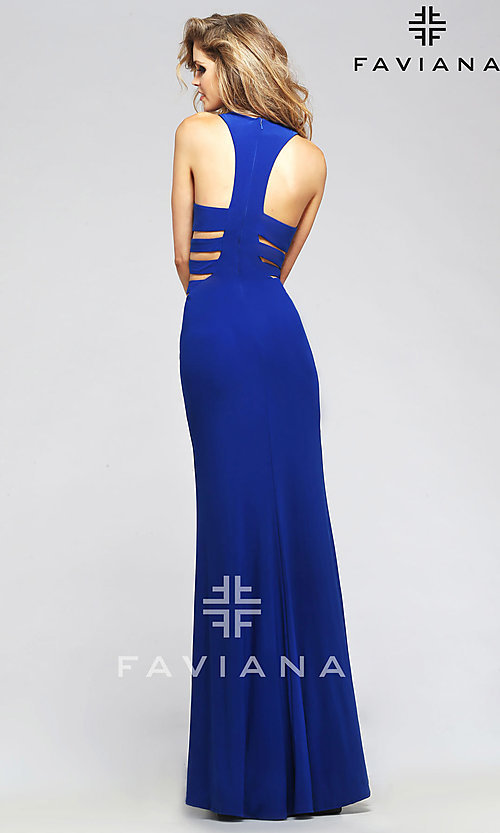 Faviana Long Gowns with Side Cut Outs
