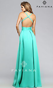 Image of backless Faviana high-low formal dress Style: FA-7752 Back Image