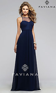 Image of Illusion High Neckline Long Formal Gown Style: FA-7774 Detail Image 1