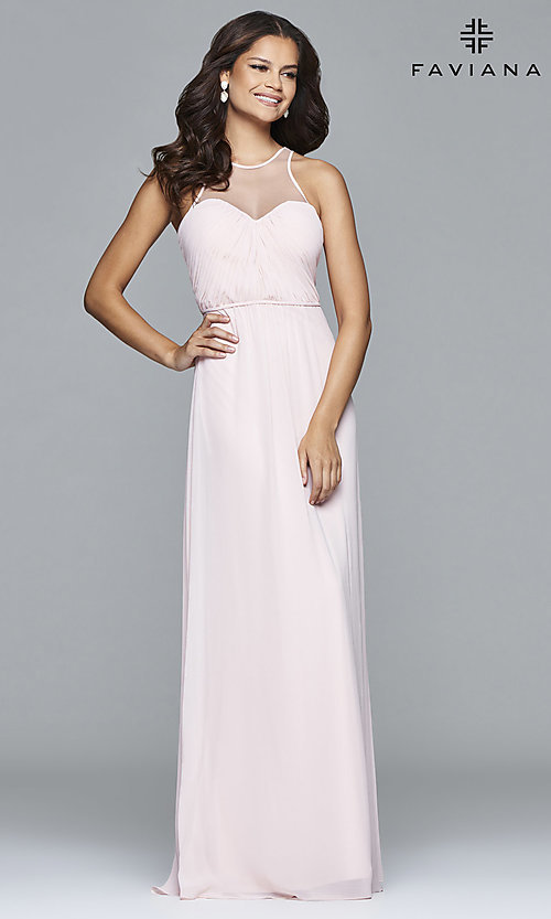 Image of Illusion High Neckline Long Formal Gown Style: FA-7774 Detail Image 2