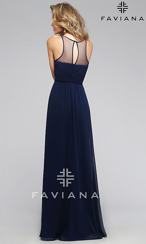 Image of Illusion High Neckline Long Formal Gown Style: FA-7774 Back Image
