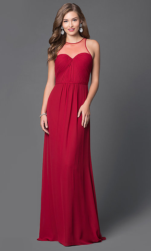 Image of Illusion High Neckline Long Formal Gown Style: FA-7774 Front Image