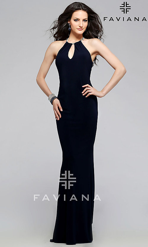 Image of Faviana floor Length High Neck Keyhole Gown Style: FA-7781 Front Image