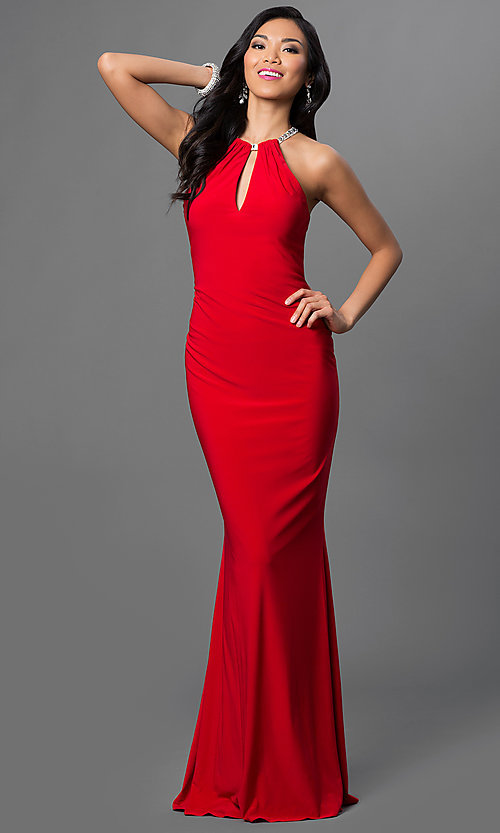 Image of Faviana floor Length High Neck Keyhole Gown Style: FA-7781 Detail Image 1