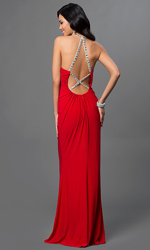 Image of Faviana floor Length High Neck Keyhole Gown Style: FA-7781 Back Image