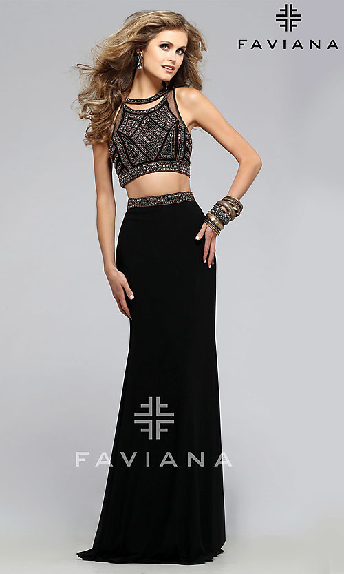 52a94251b321 Two Piece Prom Dress by Faviana with Beaded Top
