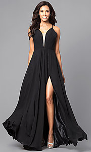 Image of corset back plunging neckline formal gown Style: FA-7747 Front Image