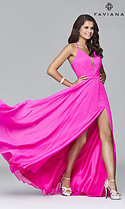 Image of corset back plunging neckline formal gown Style: FA-7747 Detail Image 2