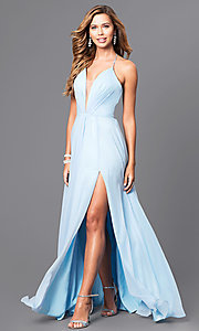 Image of corset back plunging neckline formal gown Style: FA-7747 Detail Image 3