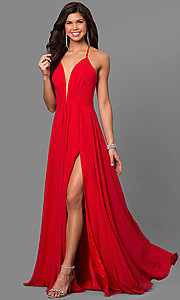 Image of corset back plunging neckline formal gown Style: FA-7747 Detail Image 1