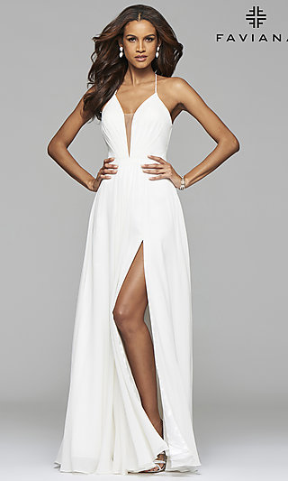 Faviana Plunging Neckline Corset Back Formal Gown