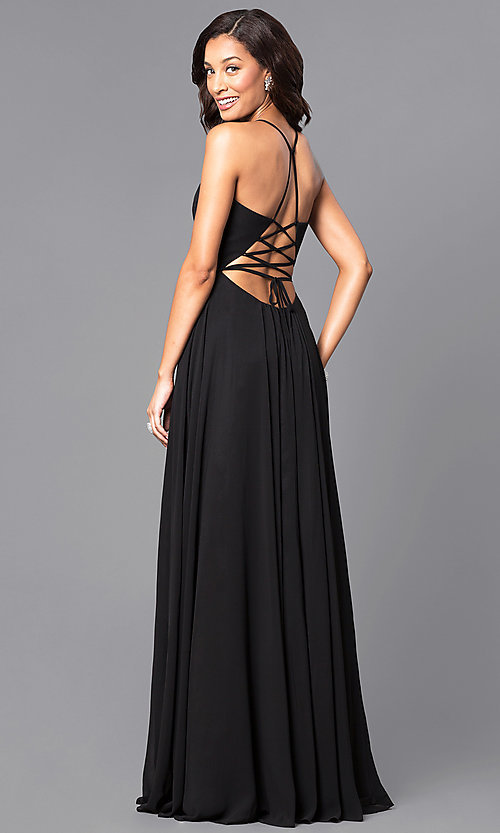 Image of corset back plunging neckline formal gown Style: FA-7747 Back Image