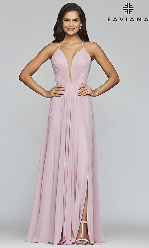 Image of corset back plunging neckline formal gown Style: FA-7747 Detail Image 4