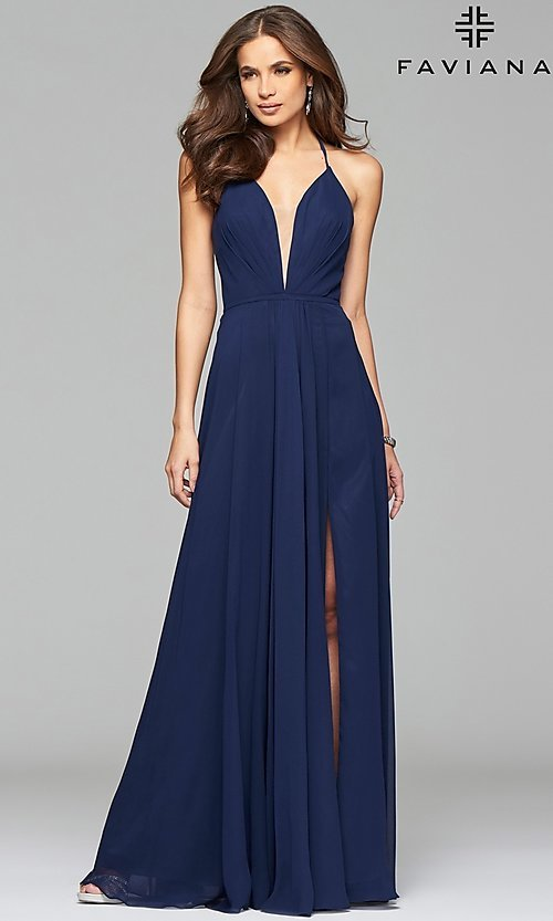 Image of corset back plunging neckline formal gown Style: FA-7747 Detail Image 5
