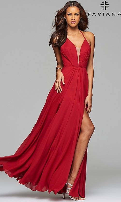Image of corset back plunging neckline formal gown Style: FA-7747 Detail Image 7
