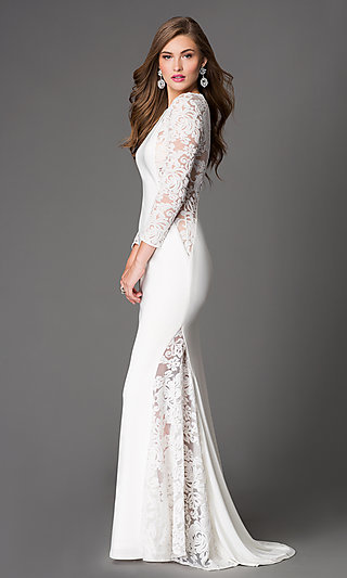 High neck low back lace wedding dress