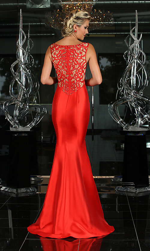 Image of Long Lace Back Trumpet Gown Style: XC-30680 Back Image