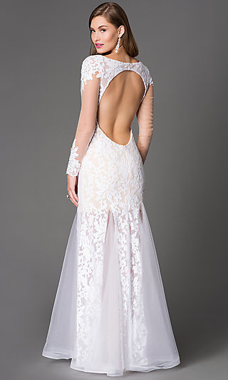 Backless Illusion-Lace Long-Sleeve Ivory Gown