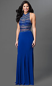 Image of Sheer Illusion Halter, Beaded Bodice Dress Style: TE-5050 Front Image