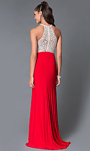 Image of Long High Neck Jersey Temptation Gown Style: TE-5062 Back Image