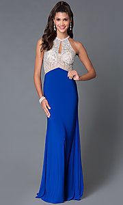 Image of Long High Neck Jersey Temptation Gown Style: TE-5062 Front Image
