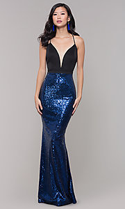 Image of floor-length formal prom gown with sequin skirt. Style: SY-ID2735EP Front Image