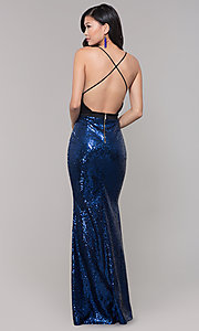 Image of floor-length formal prom gown with sequin skirt. Style: SY-ID2735EP Back Image