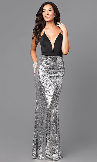 Silver Sequin Floor Length Formal Gown