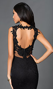 Image of Black Lace Floor Length Formal Gown Style: SY-ID2775VP Detail Image 1