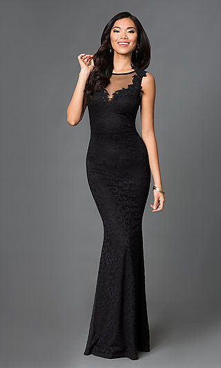 Black Lace Floor Length Formal Gown