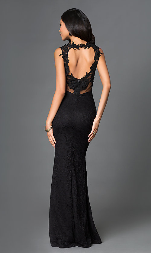 Image of Black Lace Floor Length Formal Gown Style: SY-ID2775VP Back Image