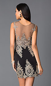 Image of sleeveless lace-embroidered short sweetheart dress Style: CD-GL-G531 Back Image
