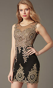 Image of sleeveless lace-embroidered short sweetheart dress Style: CD-GL-G531 Front Image