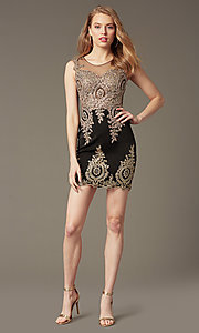 Image of sleeveless lace-embroidered short sweetheart dress Style: CD-GL-G531 Detail Image 1