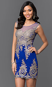 Image of sleeveless lace-embroidered short sweetheart dress Style: CD-GL-G531 Detail Image 2