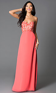 Image of long sweetheart corset-back formal prom dress. Style: CD-GL-G551 Front Image