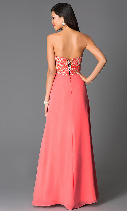 Image of long sweetheart corset-back formal prom dress. Style: CD-GL-G551 Back Image