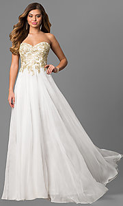 Image of long sweetheart prom dress with beaded-lace bodice. Style: CD-GL-G559 Front Image