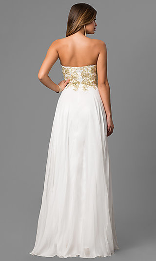 Long Strapless Prom Dress with Beaded Bodice