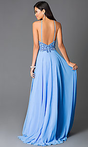 Image of periwinkle-blue beaded open-back formal gown Style: CD-GL-G561 Back Image