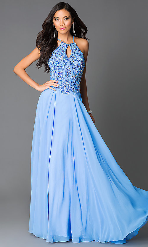 Image of periwinkle-blue beaded open-back formal gown Style: CD-GL-G561 Front Image