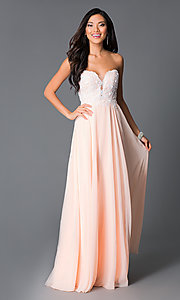 Image of embroidered strapless corset peach formal prom gown.  Style: CD-GL-G580 Front Image