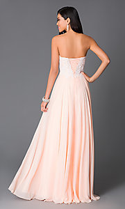 Image of embroidered strapless corset peach formal prom gown.  Style: CD-GL-G580 Back Image