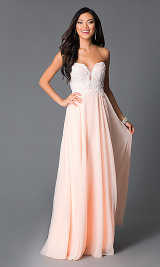 Embroidered Strapless Corset Peach Formal Prom Gown