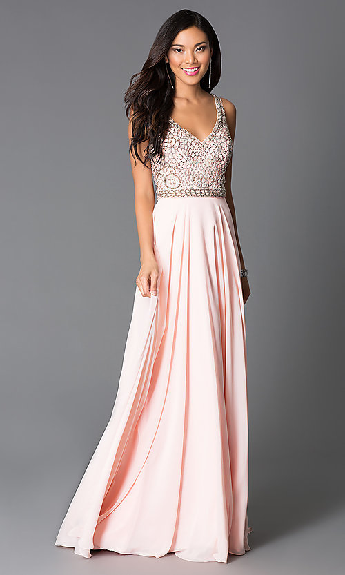 Image of long beaded v-neck sleeveless rose-pink dress Style: CD-GL-G605 Front Image
