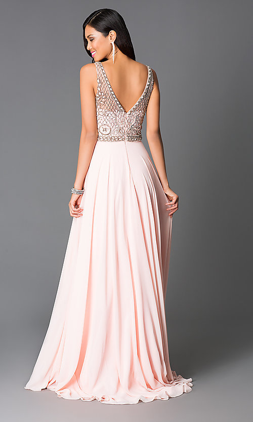 Image of long beaded v-neck sleeveless rose-pink dress Style: CD-GL-G605 Back Image