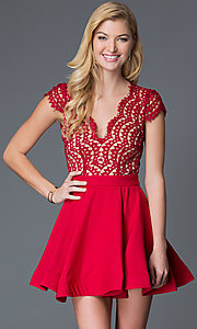 Image of short red lace cap-sleeve party dress Style: LUX-LD1693 Front Image