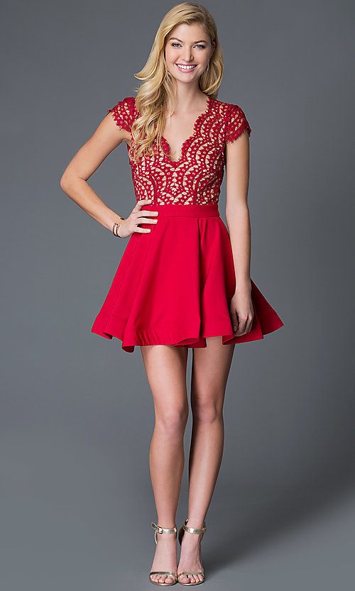 Image of short red lace cap-sleeve party dress Style: LUX-LD1693 Detail Image 1
