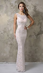 Image of long sleeveless sequined lace formal gown Style: NC-7237 Detail Image 1